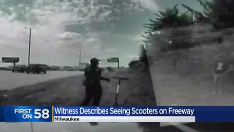 Dash camera video shows moments after three people were pulled over for riding electric scooter on I-94