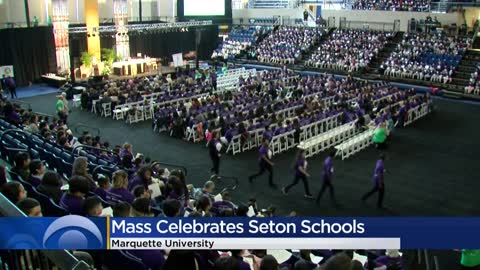 Seton Catholic schools attend mass together at Marquette University