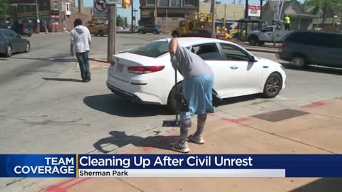 """ Volunteers clean up Sherman Park following protests"