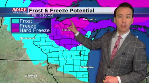 Quick temp drop Thursday afternoon followed by freeze warning Friday morning