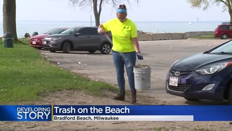 Bradford Beachgoers leave trash along Milwaukee's lakefront...