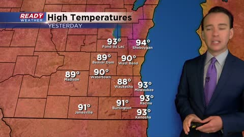 Day with record heat ends with severe storms