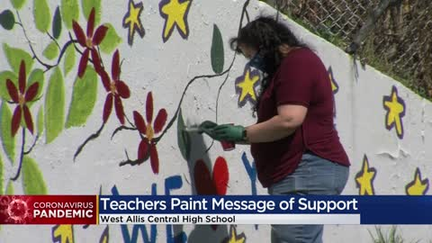 West Allis high school teachers paint tribute to seniors on message wall