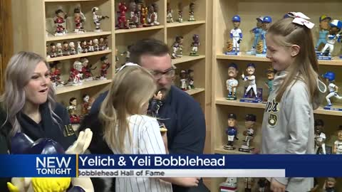 New bobblehead features Christian Yelich with dog he gifted young fans after homerun